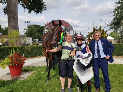 Proud Trainer and Wife as Maifalki wins in France