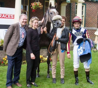 Lucky Jim Insole and Ilka in the winners enclosure at Redcar.